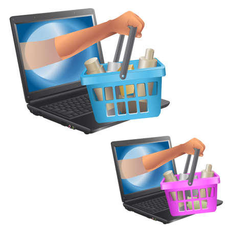 Internet shop. animation character. the isolated objects Vector