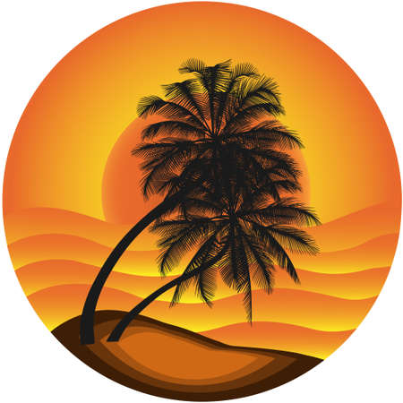 samui: Vector illustration of a sea landscape with a palm tree. the isolated objects.