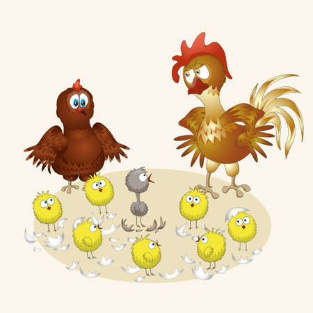 chicken family. funny vector illustration Vector
