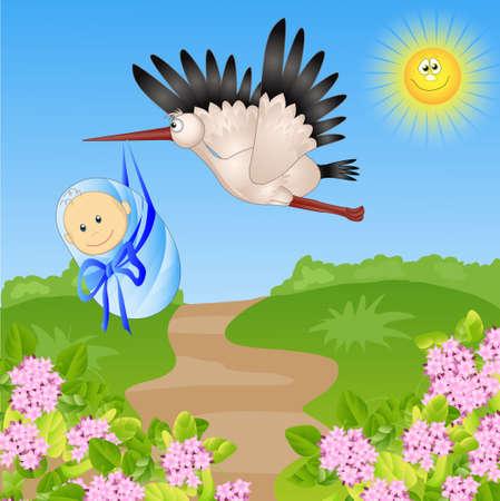 stork bears the child. funny vector illustration Vector