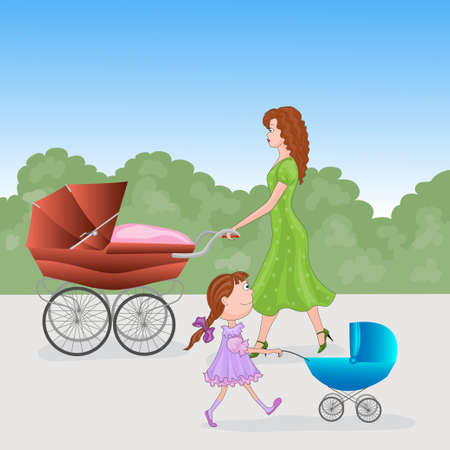 prams: ladies with prams  vector illustration  caricature Illustration
