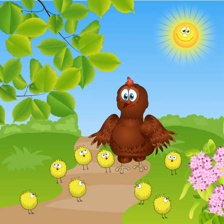 chicken family  funny vector illustration Vector