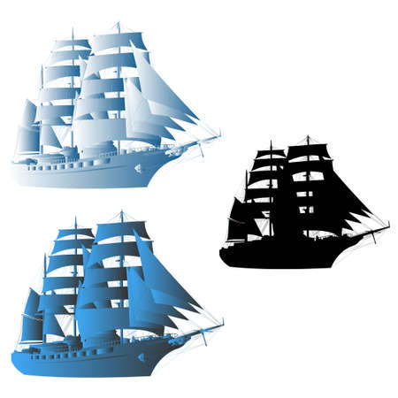 galley: big sailing ship  vector illustration  different color executions