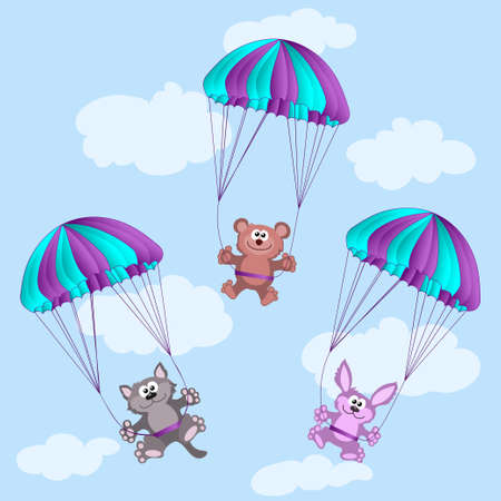 Animals on parachutes. bear, cat, rabbit, hare  Vector