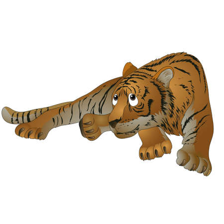 red striped tiger in a supine position. vector illustration