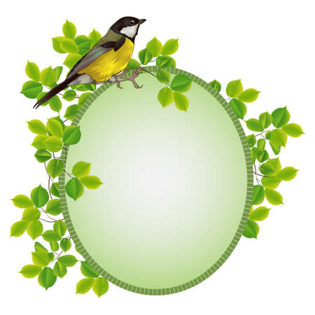 beautiful frame in a frame of foliage with a bird. vector illustration Vector