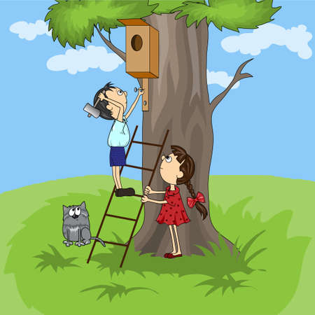 vector cartoon. children build a house for the birds Vector