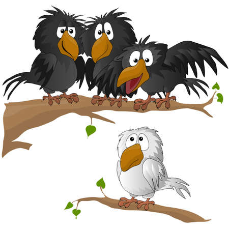 prey: funny bird. vector illustration. owl. crow. sparrow