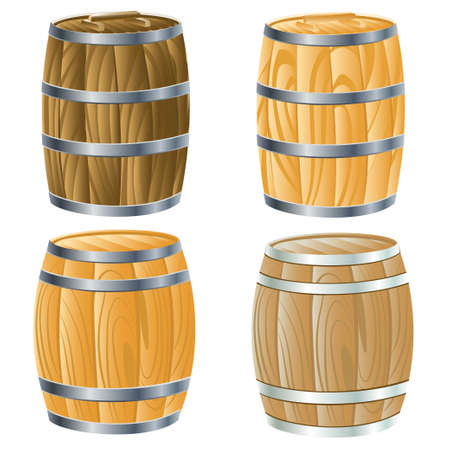 wooden barrel of beer or wine. vector illustration Vector