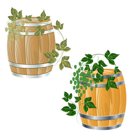 wooden barrel of beer or wine. branches with cones of hops Vector