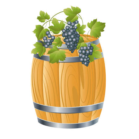tun: wooden barrel of beer or wine. vector illustration
