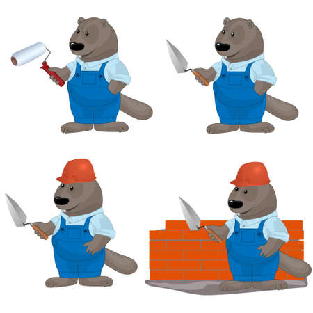 illustration of funny beaver as builders Vector