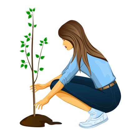 plantando un arbol: ni�a de la plantaci�n de un �rbol