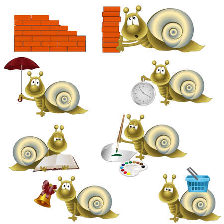 snails: funny snail. fully editable vector image