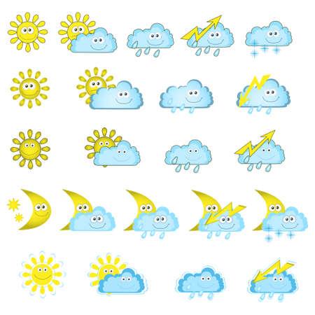 De collectie van verschillende weerpictogrammen Stock Illustratie