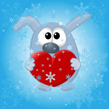 grappige dieren op de winter achtergrond. vector illustratie