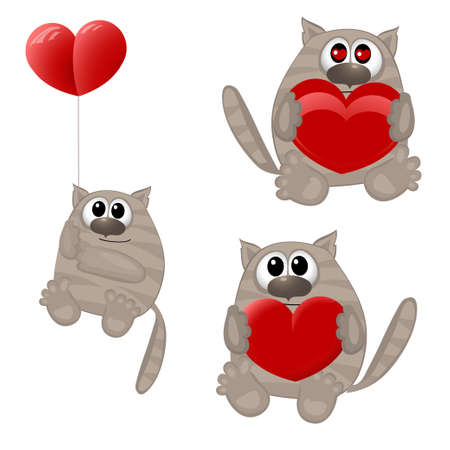 Grappige dieren met hart. vector illustratie