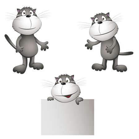 katten in verschillende poses. vectorillustratie