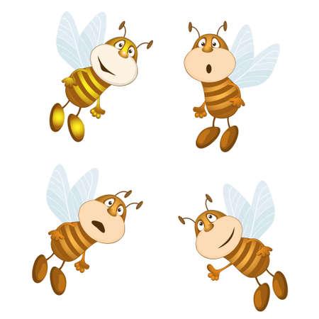 grappige bijen verzamelen nectar. vector illustratie