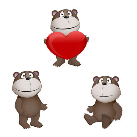 funny teddy bears with hearts. vector illustration EPS 10 Vector