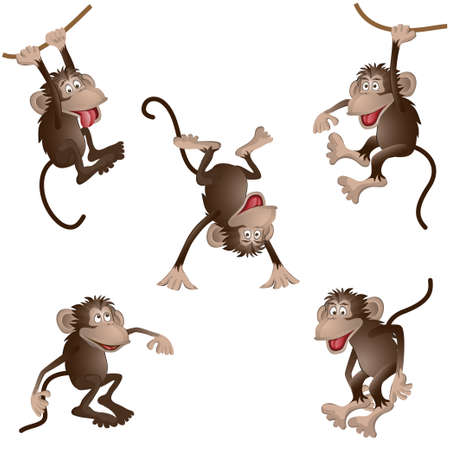 monkey face: funny monkey in different poses. vector illustration Illustration