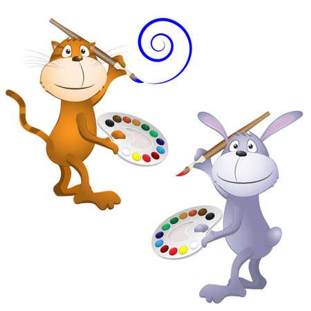 grappige kat en konijn. vector illustratie EPS 10 Stock Illustratie