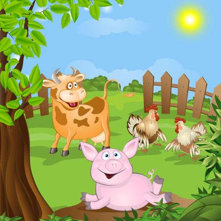 grappige dieren op het gazon illustratie