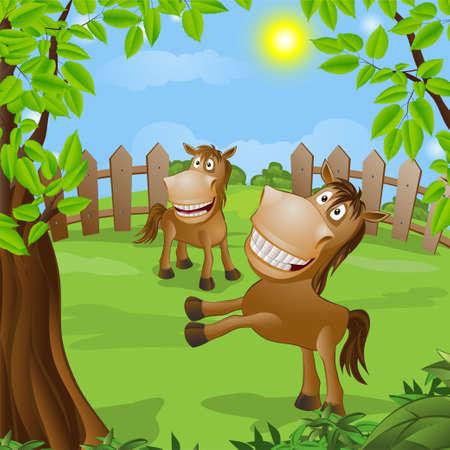 grappig paard op de natuur illustratie Stock Illustratie