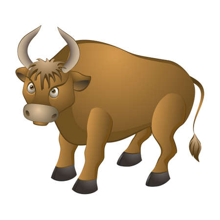 formidabele stier op een witte achtergrond