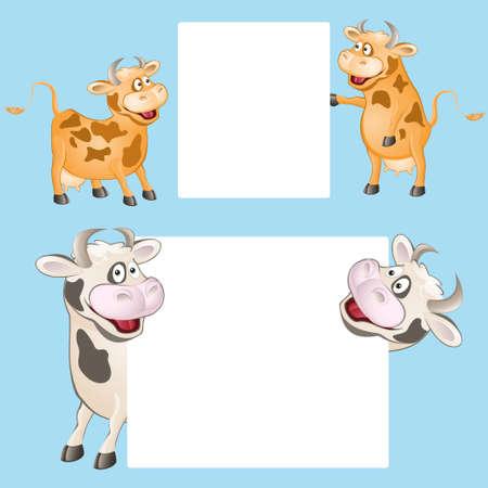grappige koe met posters. vector illustratie