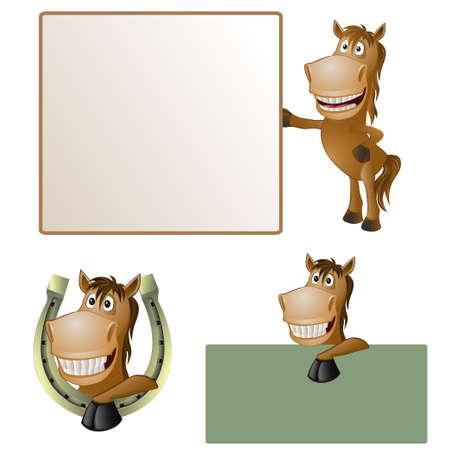 grappig paard met de poster illustratie