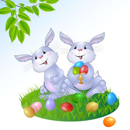 konijn met Pasen eieren illustratie