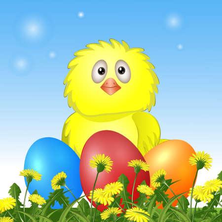 kip met Pasen eieren. vector illustratie