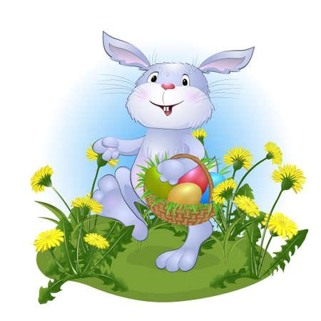 amusing rabbit with Easter eggs. vector illustration Illustration