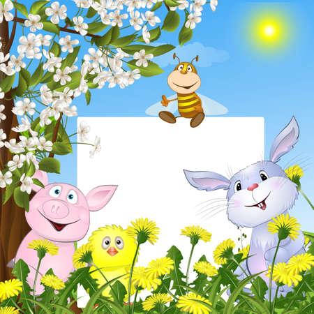 dieren met de poster tegen bloemen en een bloeiende boom. vectorillustratie