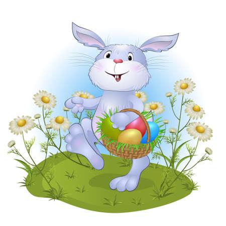 amusant konijn met Pasen eieren. vectorillustratie