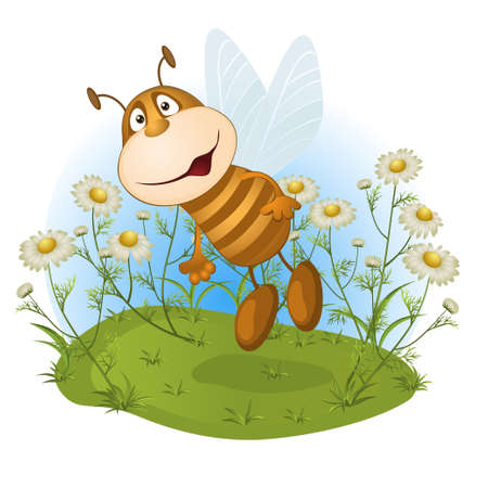 glade: amusing bee on a flower glade. vector illustration