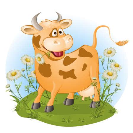面白い牛は、草をかみ砕きます。ベクトル図