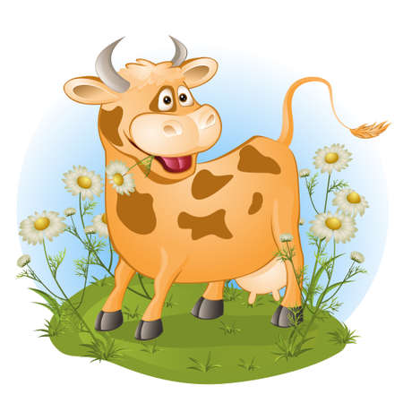the amusing cow chews a grass. vector illustration Ilustracja