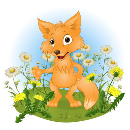 glade: cheerful young fox on a glade. vector illustration