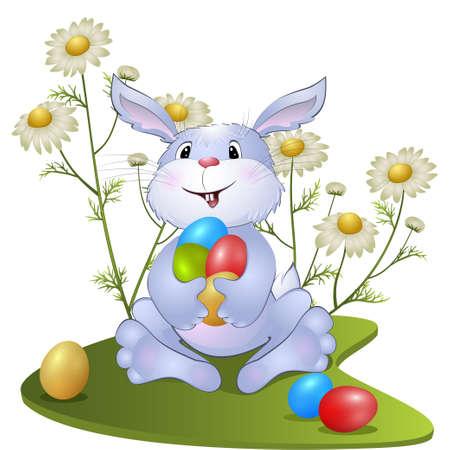 eastertide: amusing rabbit with Easter eggs. vector illustration Illustration