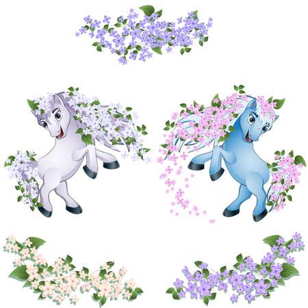 paarden met bloemen Stock Illustratie