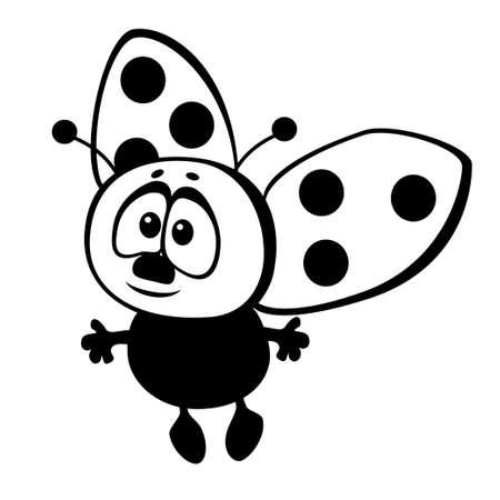 funny ladybug on a white background Illustration