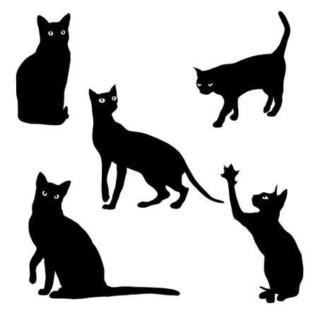 Set van katten silhouetten op een witte achtergrond Stock Illustratie