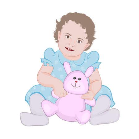 baby zitten met speelgoed Stock Illustratie
