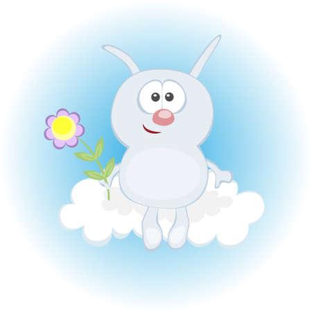 Grappig konijn op een achtergrond van de bewolkte hemel Stock Illustratie
