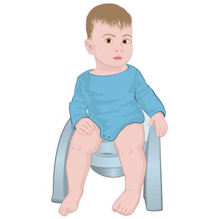 baby op de pot vector afbeelding op een witte achtergrond Stock Illustratie