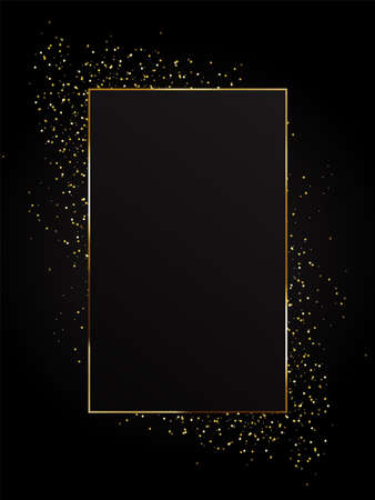 Gold background with festive lights on a black backdrop. Registration for celebrating birthdays, New Year, Christmas, Valentine s Day. Vector illustration