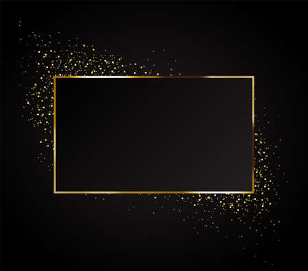 Gold background with festive lights on a black backdrop. Registration for celebrating birthdays, New Year, Christmas, Valentine s Day. Vector illustration 免版税图像 - 126565342