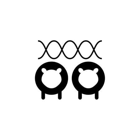Line vector icon illustration of sheeps cloning. Vector icon Vektoros illusztráció